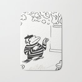 Ape Mime Fights Fire with Imaginary Hose Bath Mat
