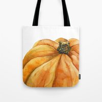 pumpkin Tote Bags featuring Pumpkin by Cindy Lou Bailey