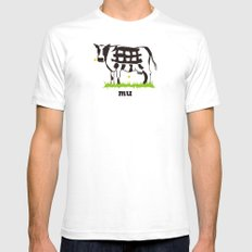 Mu cow Mens Fitted Tee White SMALL