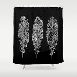 Patterned Plumes - White Shower Curtain
