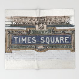 Times Square Subway New York, Tile Mosaic Sign Throw Blanket