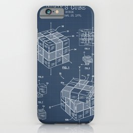 Rubiks cube blueprint iPhone Case