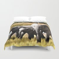 elephants Duvet Covers featuring Elephants by Regan's World