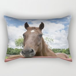 Closeup photo of brown horse looking over fence Rectangular Pillow