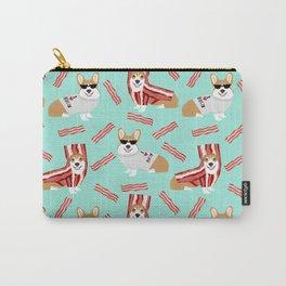 Corgi Bacon art print cute corgis dog bacon food corgis pillow funny bacon design Carry-All Pouch