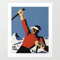 Skiing the slopes Art Print