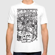 Doodles White MEDIUM Mens Fitted Tee
