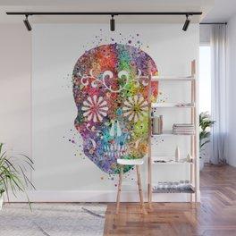 Sugar Skull Watercolor Print Wall Poster Home Decor Wall Mural