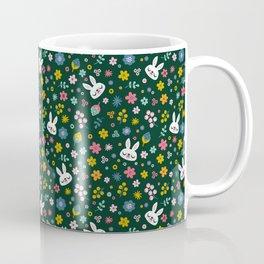 Bunny with a Scarf and Flowers / Cute Animal Coffee Mug
