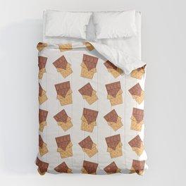 Funny sweet delicious yummy chocolate bars cartoon pattern. Cute retro vintage chocolates design. Comforters