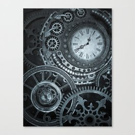 Silver Steampunk Clockwork Canvas Print
