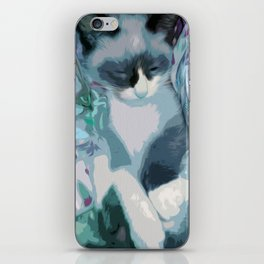 Nestled Kitten in Comforter Cloud iPhone Skin
