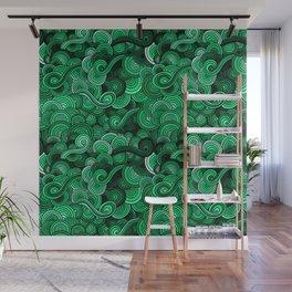 Swirly Emerald Green Wall Mural