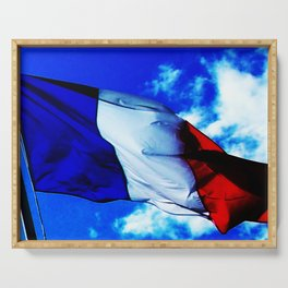 French flag blowing in the wind Serving Tray