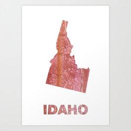 Idaho map outline Crimson red nebulous wash drawing Art Print