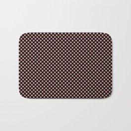 Black and Rosette Polka Dots Bath Mat