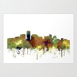 Long Beach, California Skyline - Safari Buff Art Print