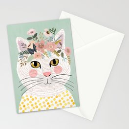 White flowers with floral crown Stationery Cards