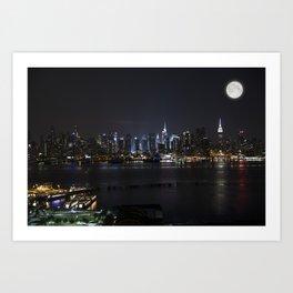 New York Supermoon Art Print