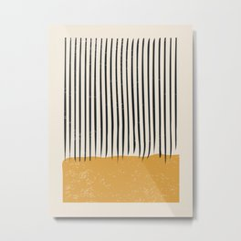 Mid Century Modern Minimalist Rothko Inspired Color Field With Lines Geometric Style Metal Print