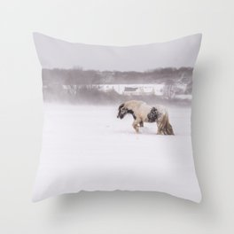 Lonely horse in the snow Throw Pillow