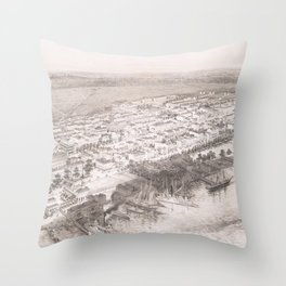 Vintage Pictorial Map of Hoboken NJ (1860) Throw Pillow