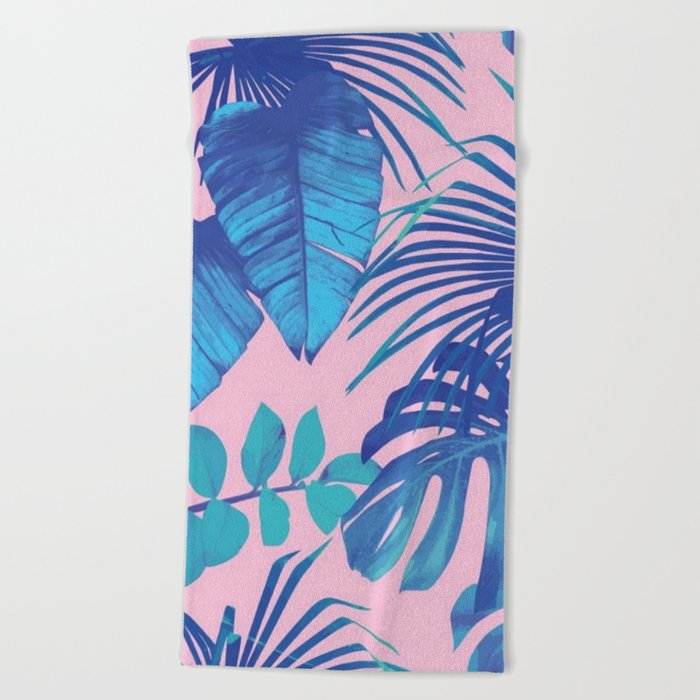 tropical leaf pattern pink  Beach Towel