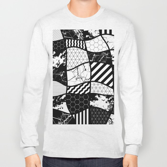 Crazy Patchwork (Abstract, black and white, geometric designs) Long Sleeve T-shirt