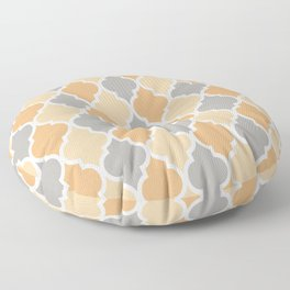 Colorful Quatrefoil Lattice Pattern 132 Grey and Beige Floor Pillow