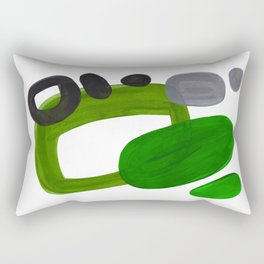 Mid Century Vintage 70's Design Abstract Minimalist Colorful Pop Art Olive Green Dark Green Grey Rectangular Pillow