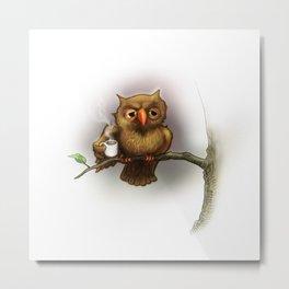 Caffeinated Owl Metal Print