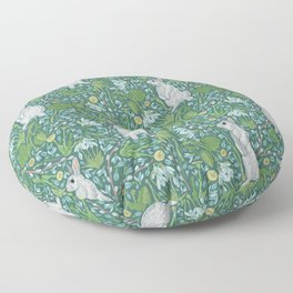 Grey hares with coltsfoots and snowdrops on green background Floor Pillow