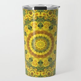 Sunflowers 001, Floral mandala-style, Nature Flower Mandala, blue Travel Mug