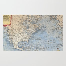 Vintage Map of North America (1747) Rug