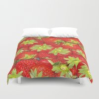 strawberry Duvet Covers featuring Strawberry by ViconiaMcAliens