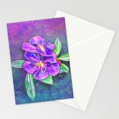 Abstract Lasiandra on textured kaleidoscope Stationery Cards