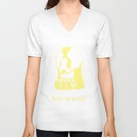 beer V-neck T-shirts featuring Beer by Andrea Bettin ART