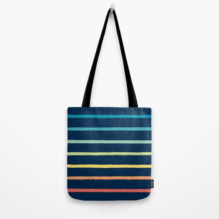 Blue Festival Rainbow Stripe Tote Bag