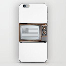 Patriotic Black And White Television iPhone Skin