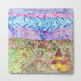 Armenia. Abstract doodle landscape with lines Metal Print