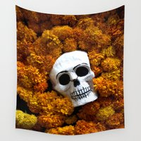 day of the dead Wall Tapestries featuring Day of the Dead by Chico Sanchez