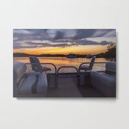 Boat Side Sunset Metal Print