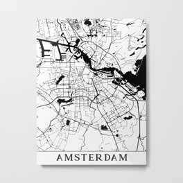 Amsterdam Minimal Map Metal Print
