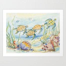 Sea Turtles, Coral and Kelp Art Print
