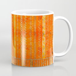 Tribal Ethnic pattern gold on bright orange Coffee Mug