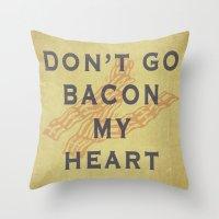 bacon Throw Pillows featuring Bacon by Carl Christensen