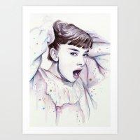 hepburn Art Prints featuring Audrey Hepburn Watercolor by Olechka