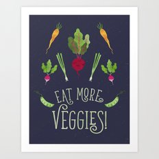 Eat more veggies! Dark version Art Print