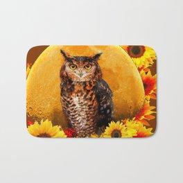 OWL MOON & SUNFLOWERS BROWN ART Bath Mat