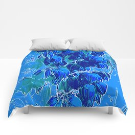 Yucca Flowers in Blues Comforters